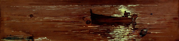 La traina, tempera su tavola, cm.40 x 81