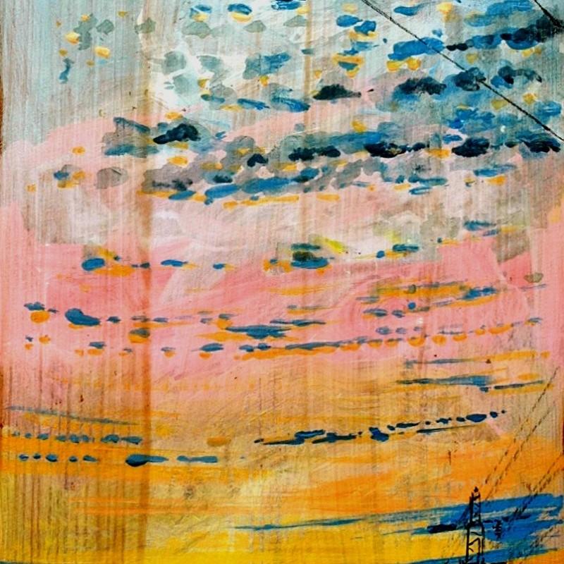 Prospettive di un tramonto, tempera su tavola, cm. 96 x 36