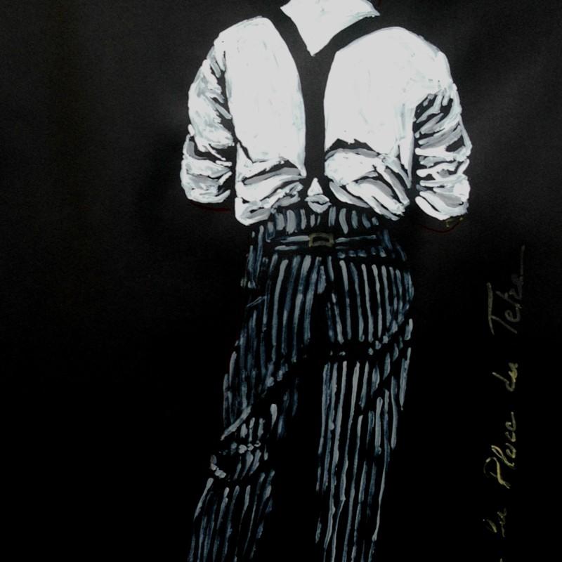 Le garcon a le Place du Tetre, tempera, su carta cm. 50 x 100.