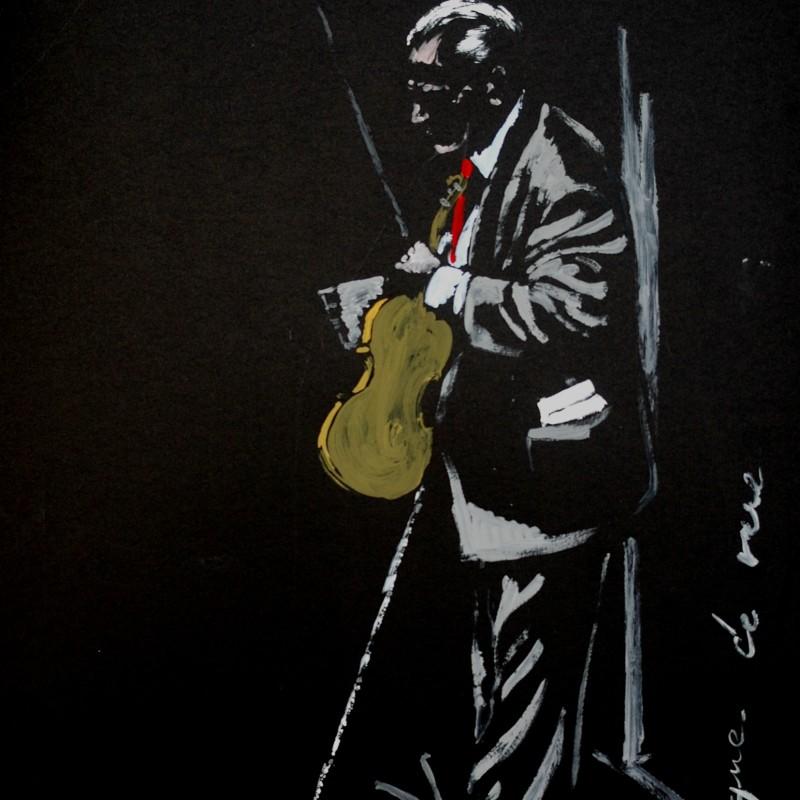 Musique de rue, tempera su carata,  cm. 100 x 50