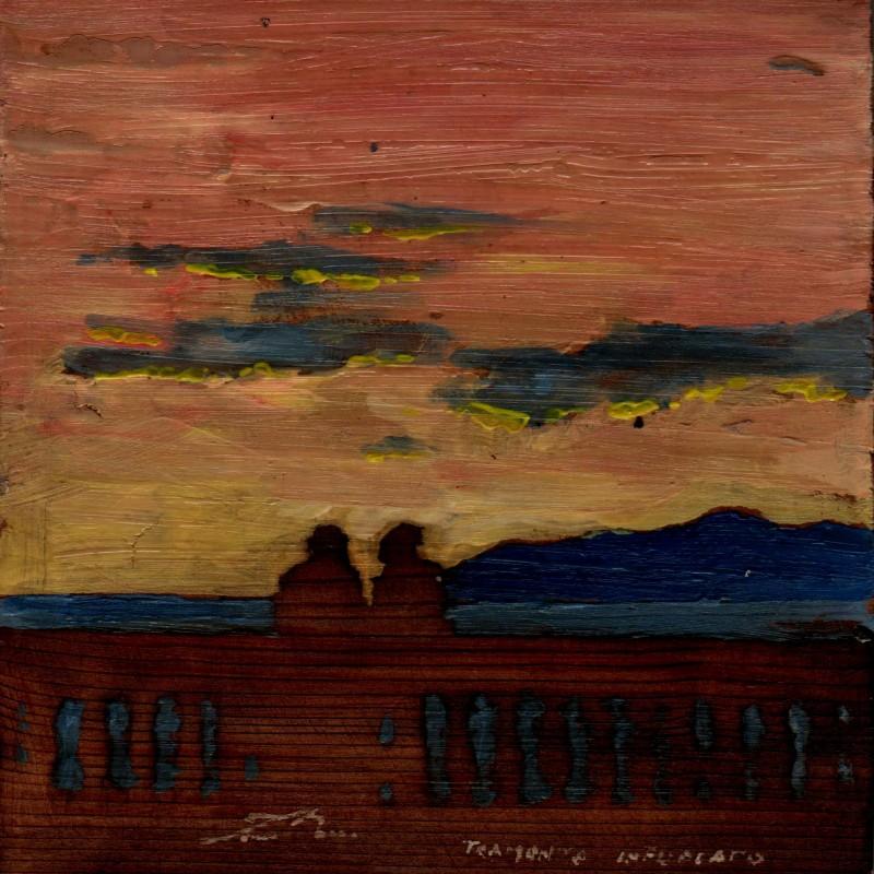 Tramonto infuocato, tempera su tavola cm. 17 x 17