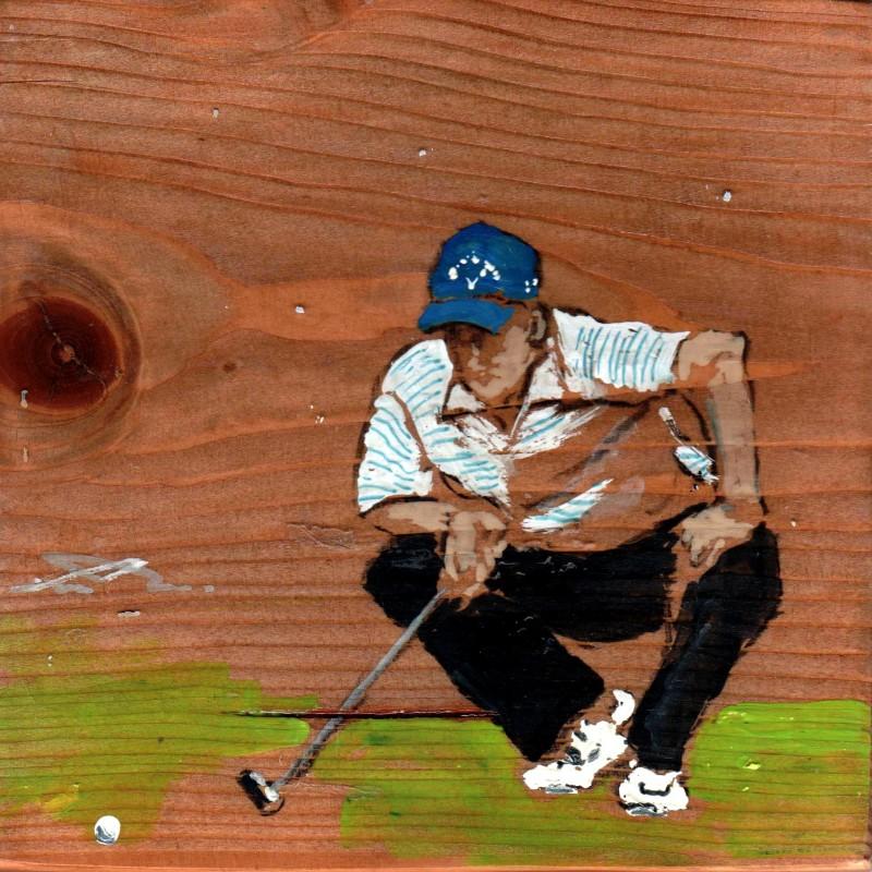 quando il golf tempera su tavola cm. 17 x 17