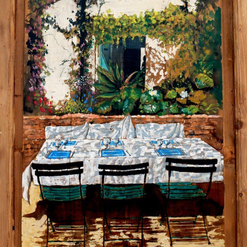 aspettando gli ospiti tempera su tavola cm. 98 x 79
