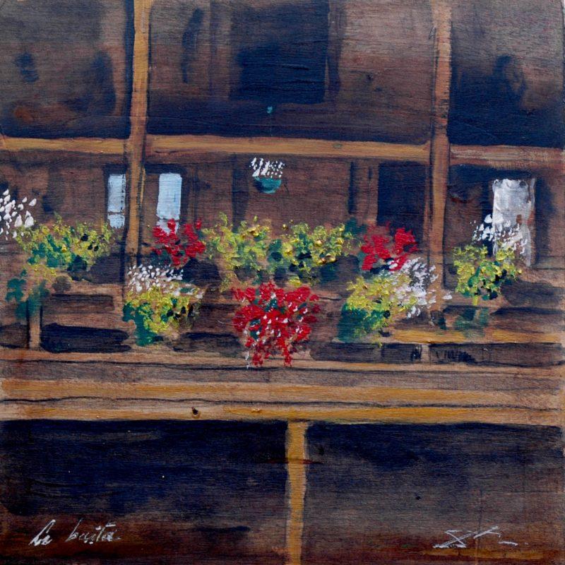 La baita tempera su tavola cm. 23 x 23