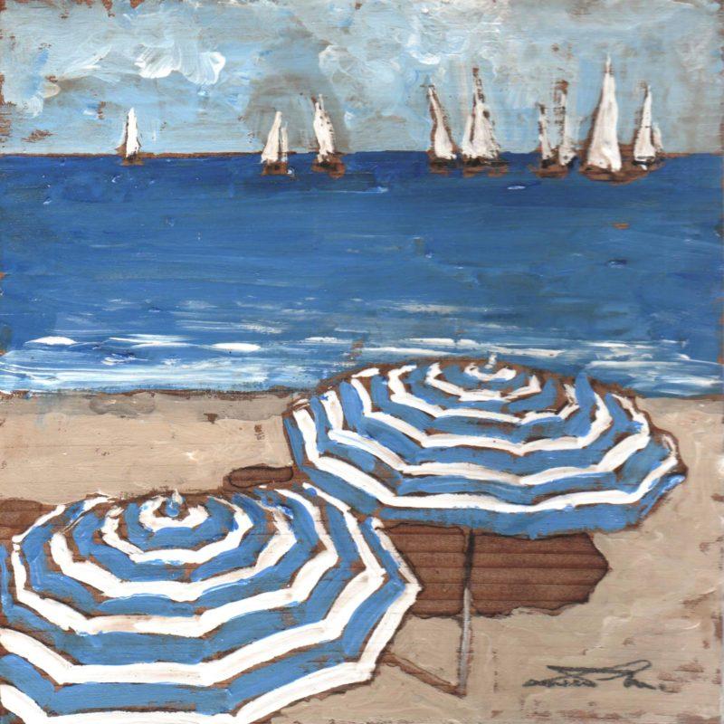 La regata tempera su tavola cm. 17 x 17