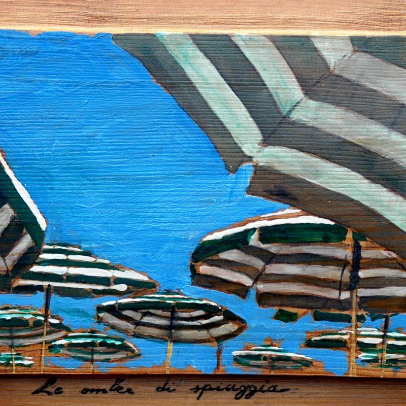 Le ombre di spiaggia tempera su tavola cm. 23 x 41