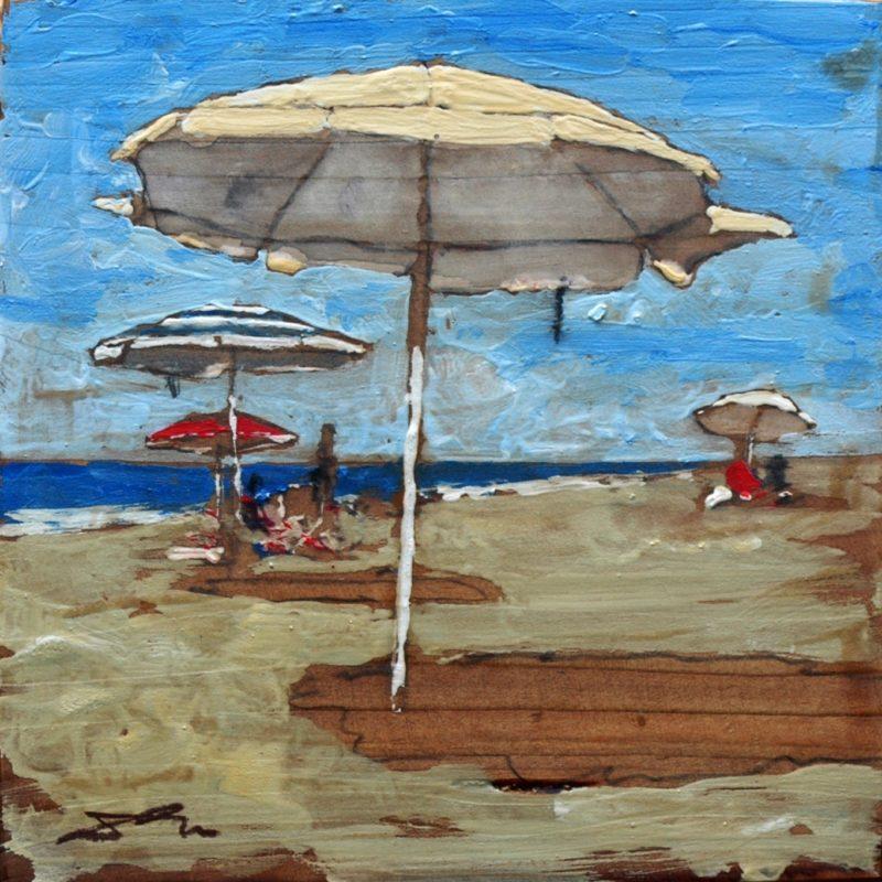 Ricordi di mare tempera su tavola cm. 17 x 17