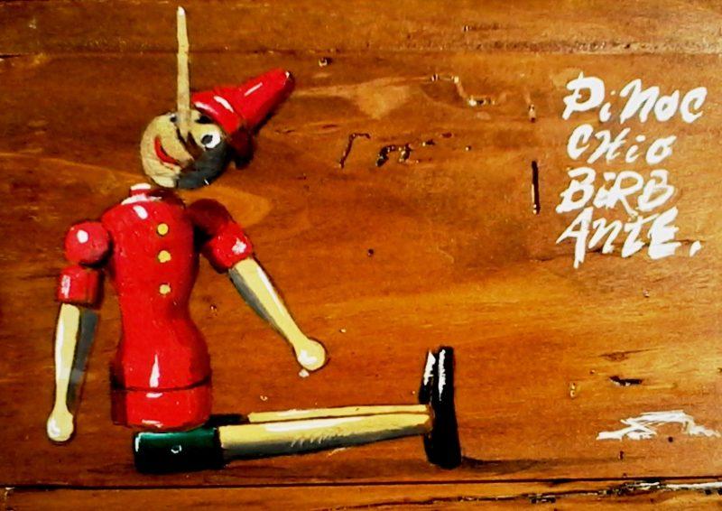 Pinocchio birbante tempera su tavola cm. 30 x 37