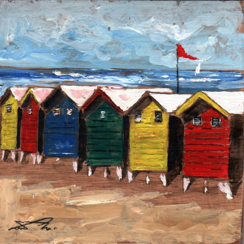 pericolo bandiera rossa tempera su tavola cm. 17 x 17