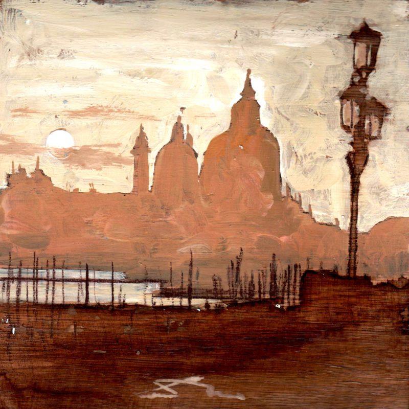 venezia al vespro tempera su tavola cm. 17 x 17