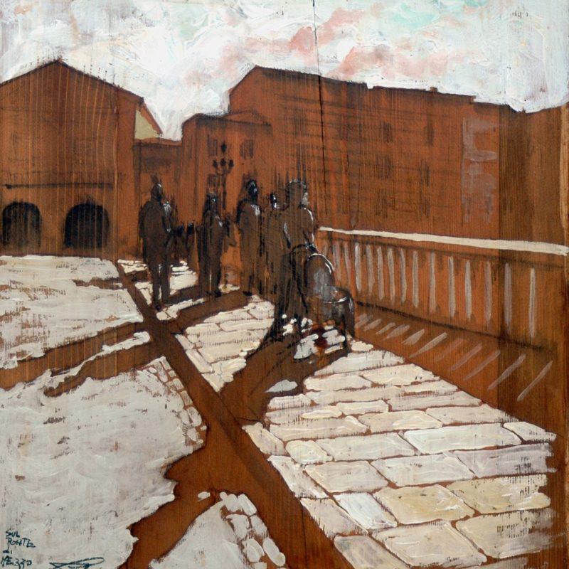 sul ponte di mezzo tempera su tavola cm. 45 x 44