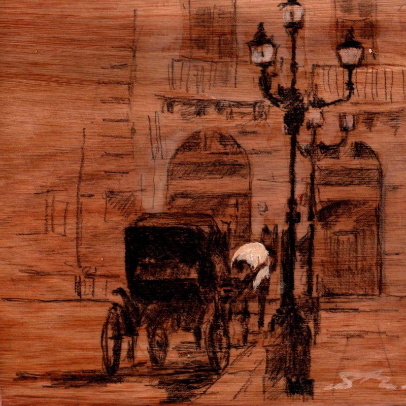 Palermo; i quattro canti tempera e matita su tavola cm. 17 x 17