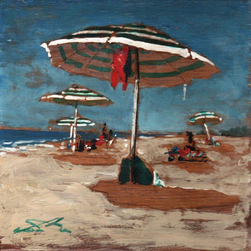 in spiaggia tempera su tavola cm. 17 x 17