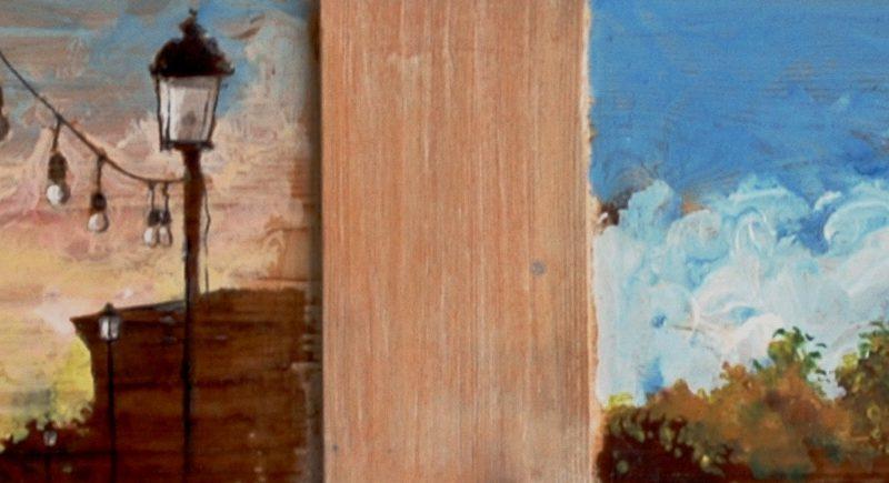 dall'alba al tramonto tempera su tavola cm. 38 x 143