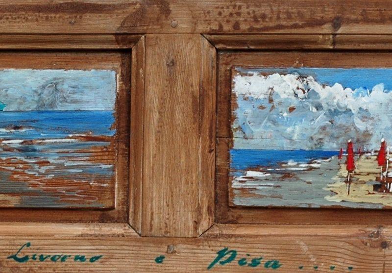 tra Livorno e Pisa tempera su tavola cm. 157 x 37