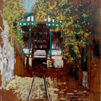 L'arrivo al Sacro Colle tempera su tavola cm. 38 x 37