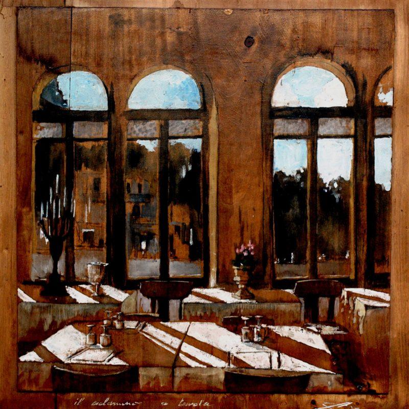 Il ciclamino a tavola tempera su tavola cm. 74 x 69