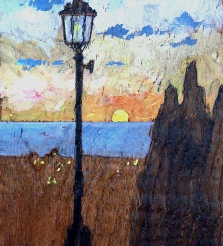 resti di luce tempera su tavola cm. 49 x 30