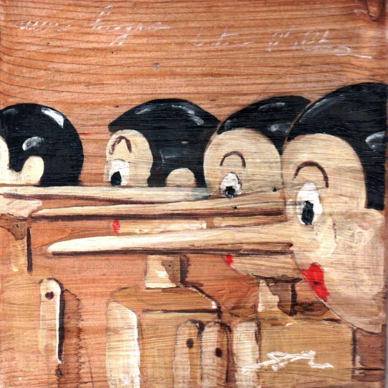 una bugia dietro l'altra tempera su avola cm. 17 x 17