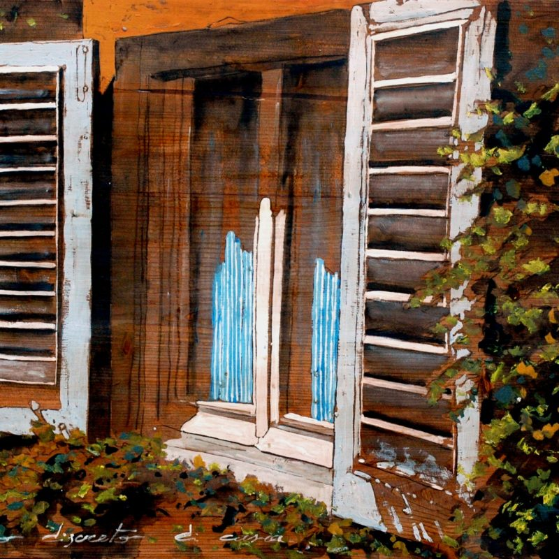 lo sguardo discreto di casa tempera su tavolo cm. 68 x 98