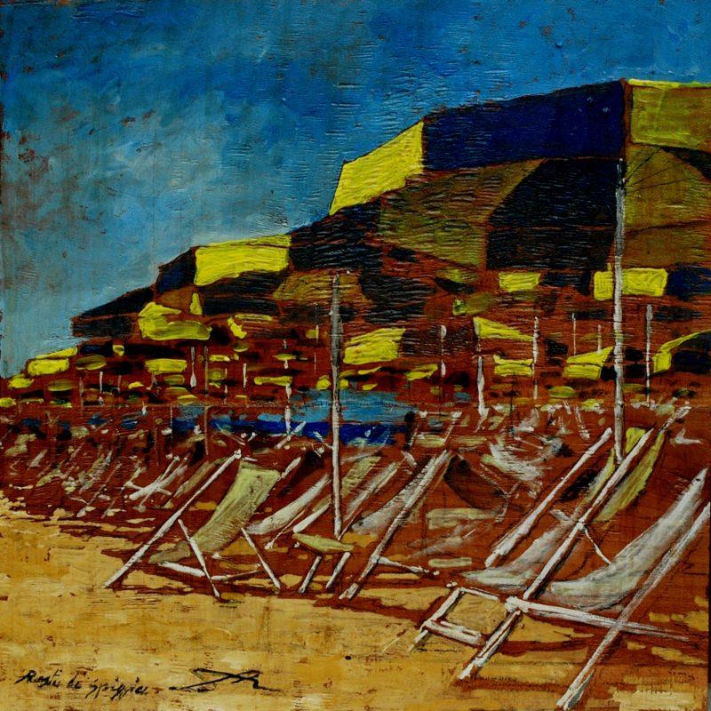 Resti di spiaggia tempera su tavola cm. 35 x 35