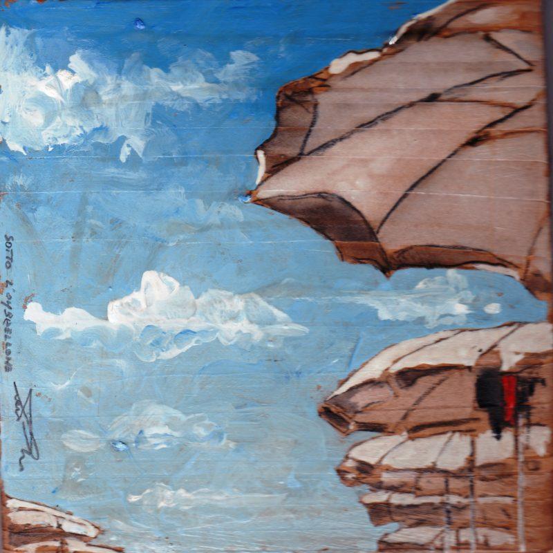 sotto l'ombrellone tempera su tavola cm. 17 x 17