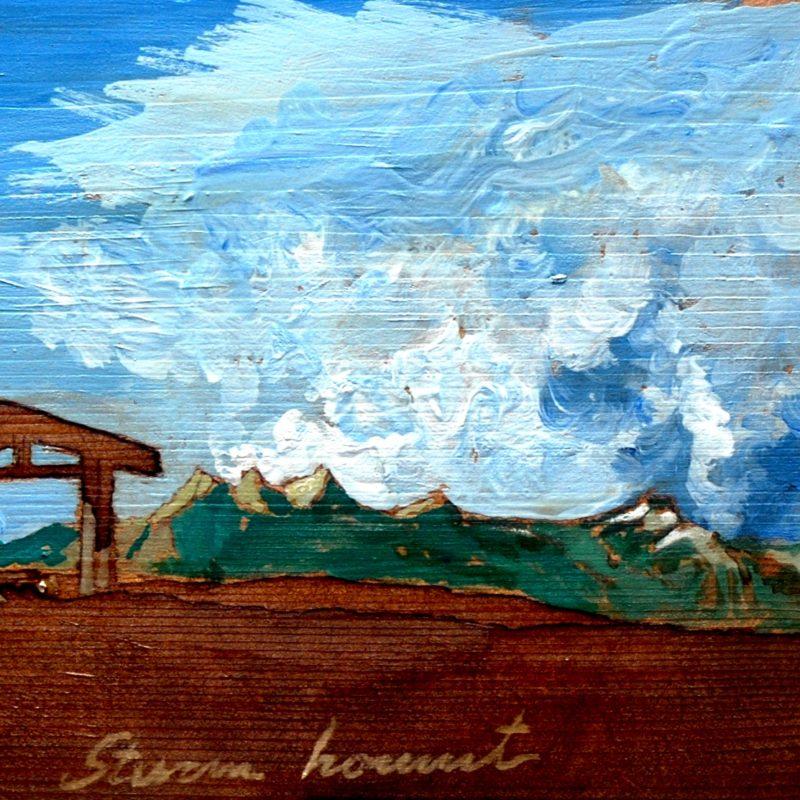 Sturm hommt tempera su tavola cm. 23 x 45