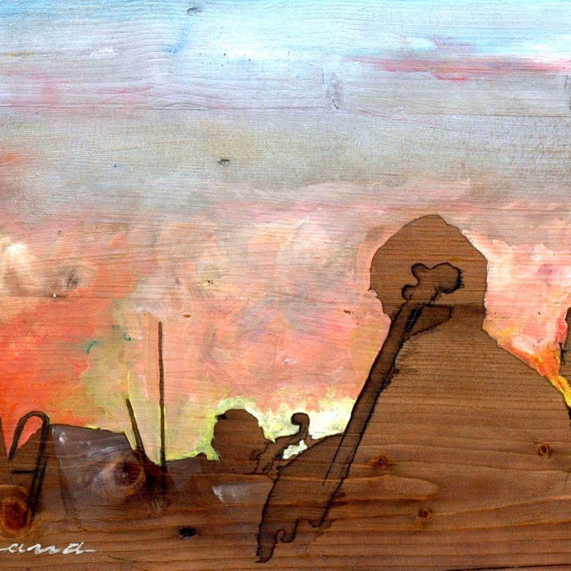 Alba rusticana tempera su tavola cm. 47 x 90