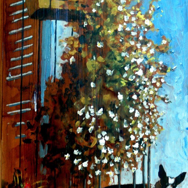la vedetta del balcone di Citerna tempera su tavola cm. 97 x 63
