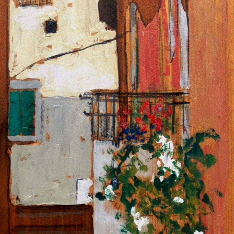 i muri raccontano tempera su tavola cm. 52 x 23