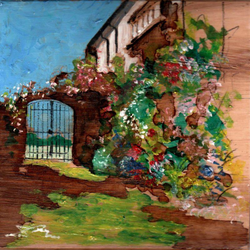 di fiore in fiore tempera su tavola cm. 17 x 17