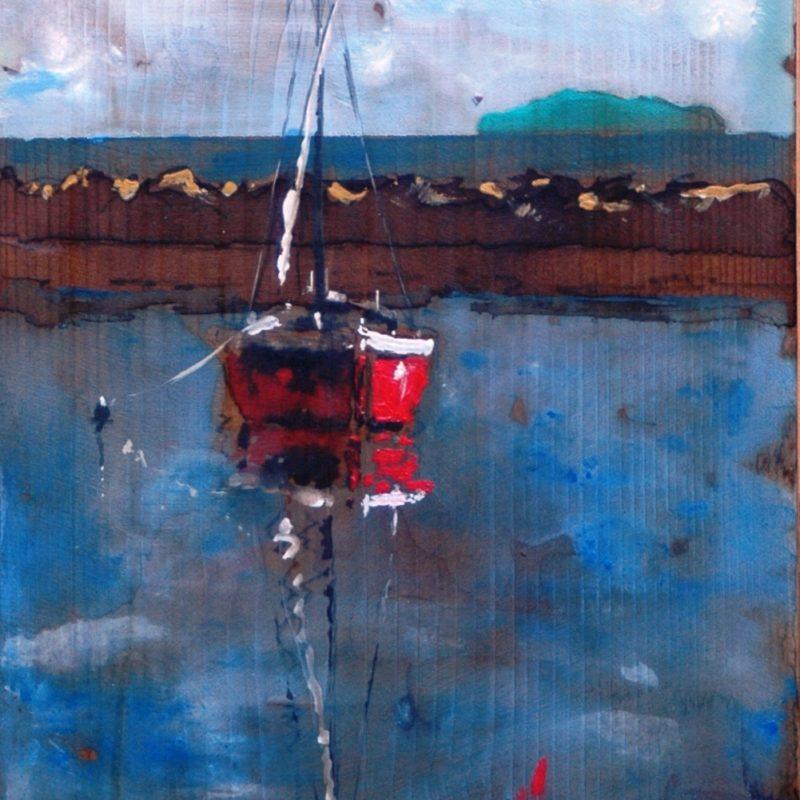 ormeggio sicuro tempera su tavola cm. 51 x 35