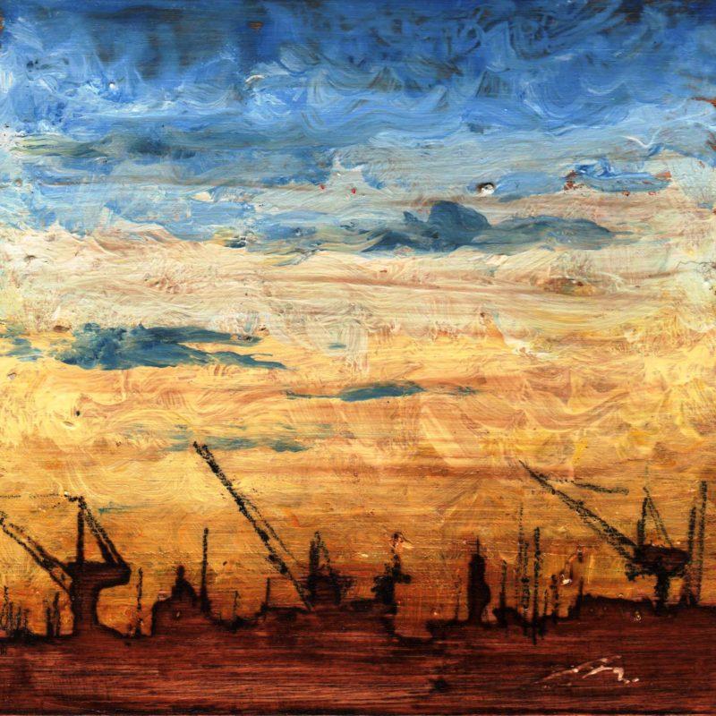 Il calar di fuoco tempera su tavola cm. 17 x 17