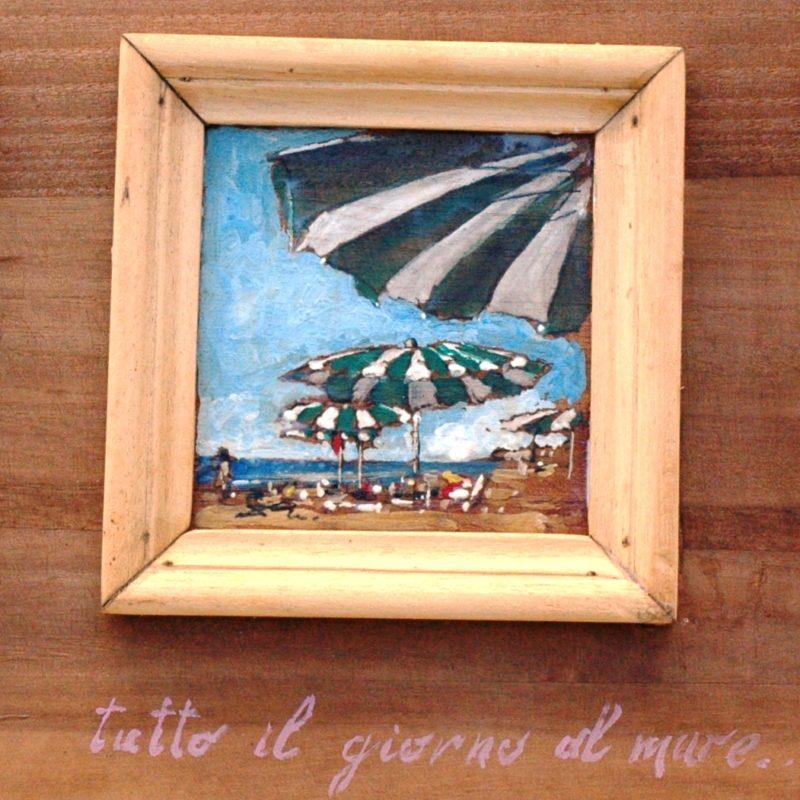 Tutto il giorno al mare ( trittico ) tempera su tavola cm.11x11 (x3)