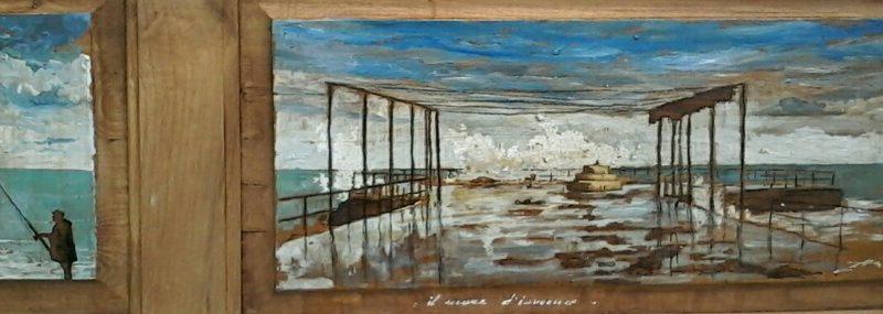 Il mare d'inverno tempera su tavola cm. 44 x 100