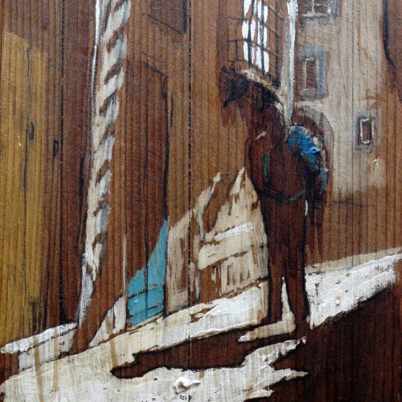 giacca in spalla tempera su tavola cm. 40 x 38