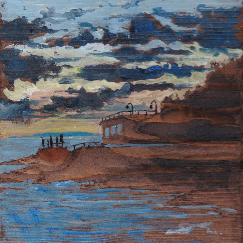Punta Righini tempera su tavola cm. 17 x 17