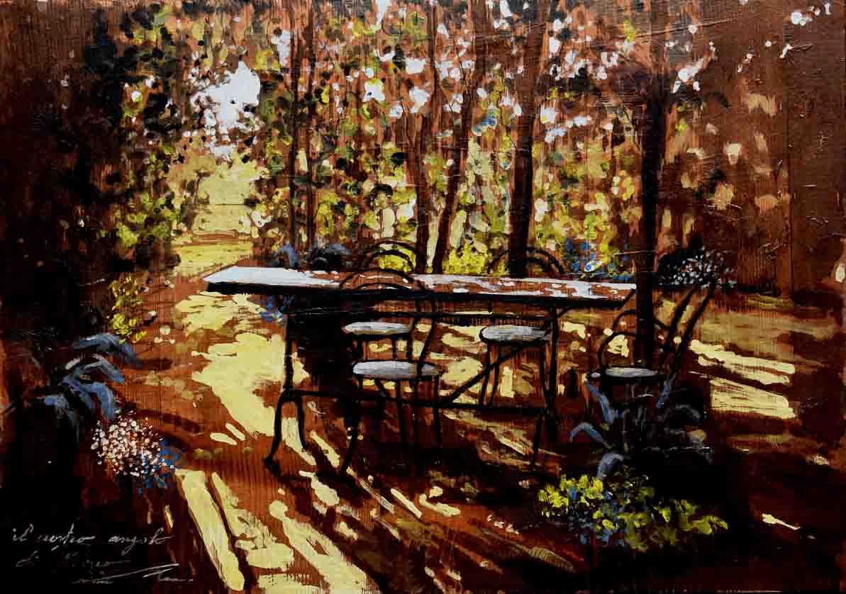 Il nostro angolo di fresco | tempera su tavola | Lomi Massimo